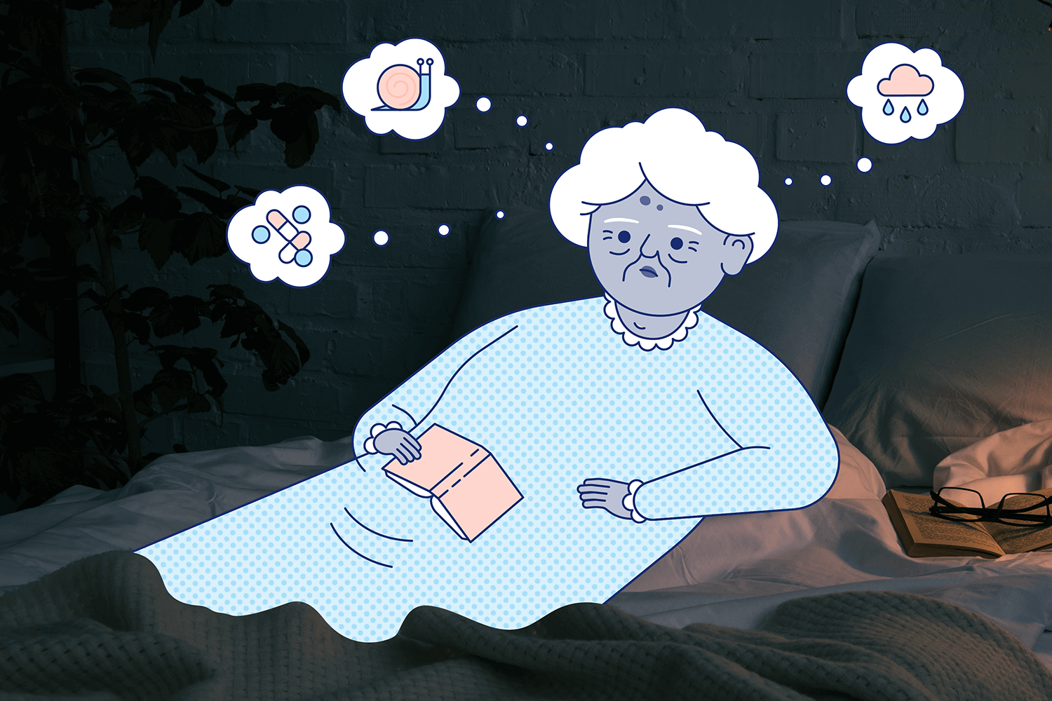 A woman lies in bed thinking about worries. Illustration.