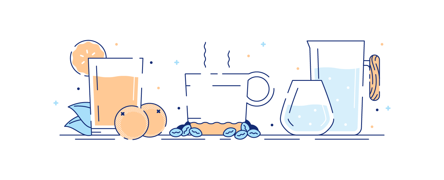 Glasses of orange juice, coffee, and water spread onto a table. Illustration.