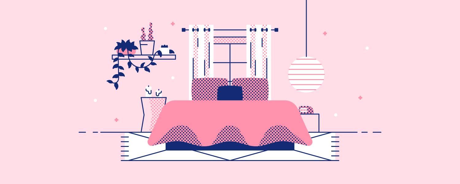 A cozy bedroom. Illustration.