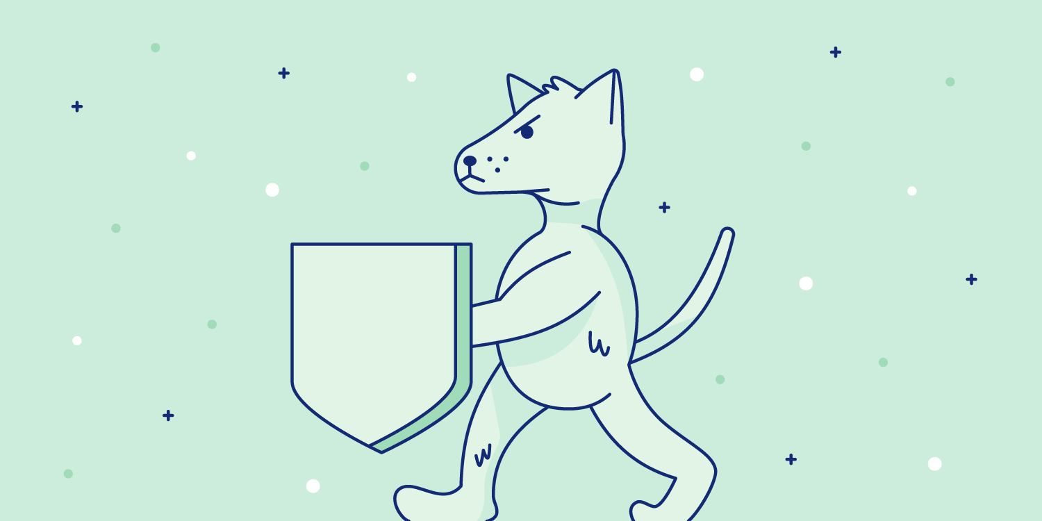 Dog holds a shield with the instinct to protect. Illustration.
