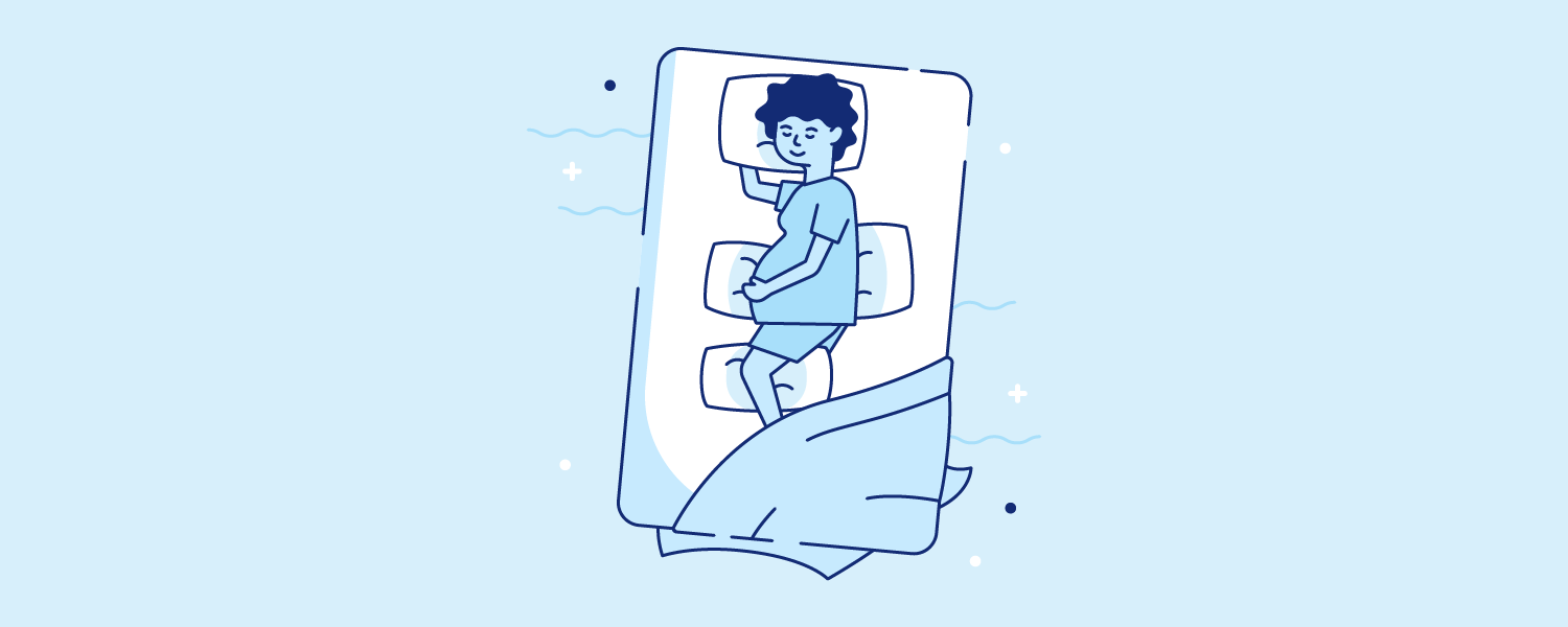 A pregnant woman sleeping with pillows under her head, stomach, back, and between her knees. Illustration.
