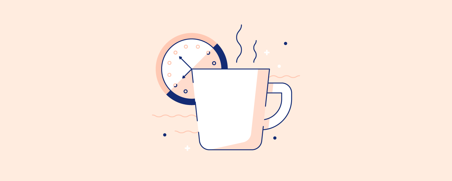 A cup of coffee in front of a wall clock. Illustration.
