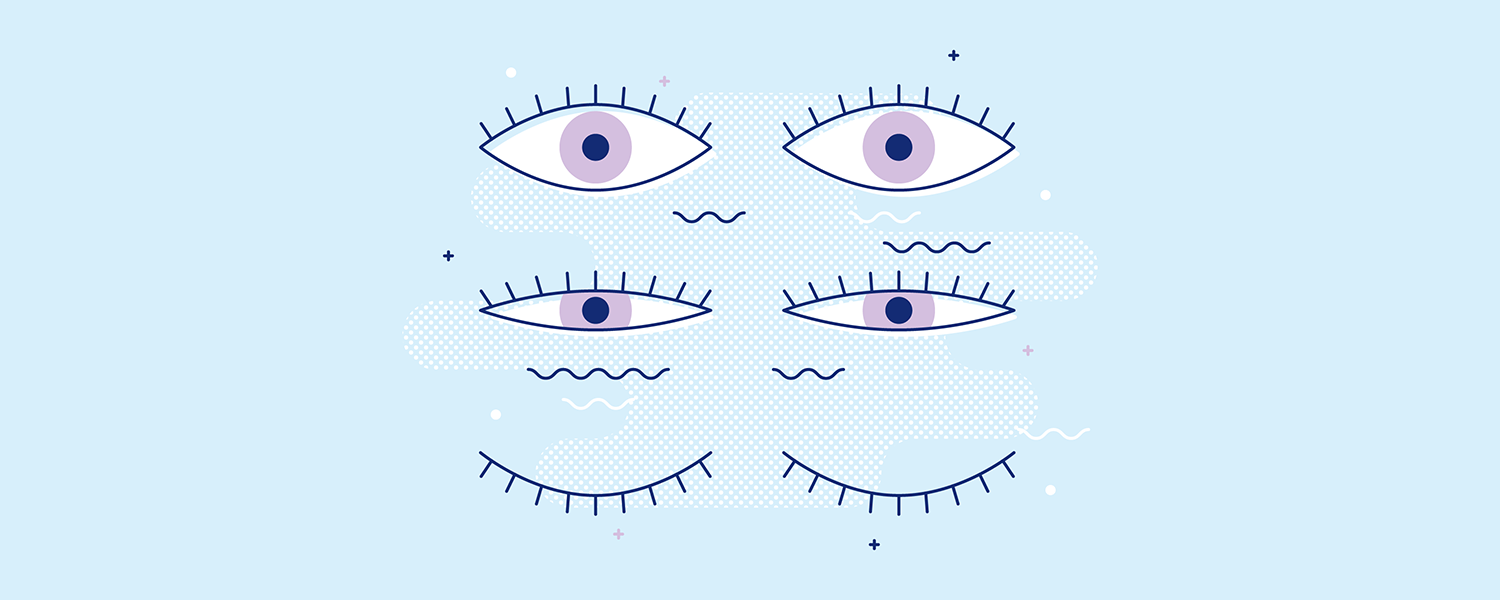 A pair of eyes going from fully open, to half open, to closed. Illustration.