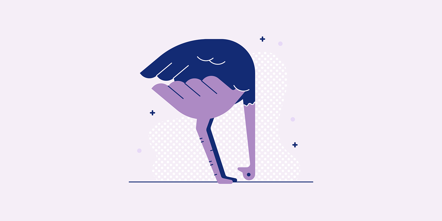 A cartoon ostrich in an Uttanasana yoga pose.