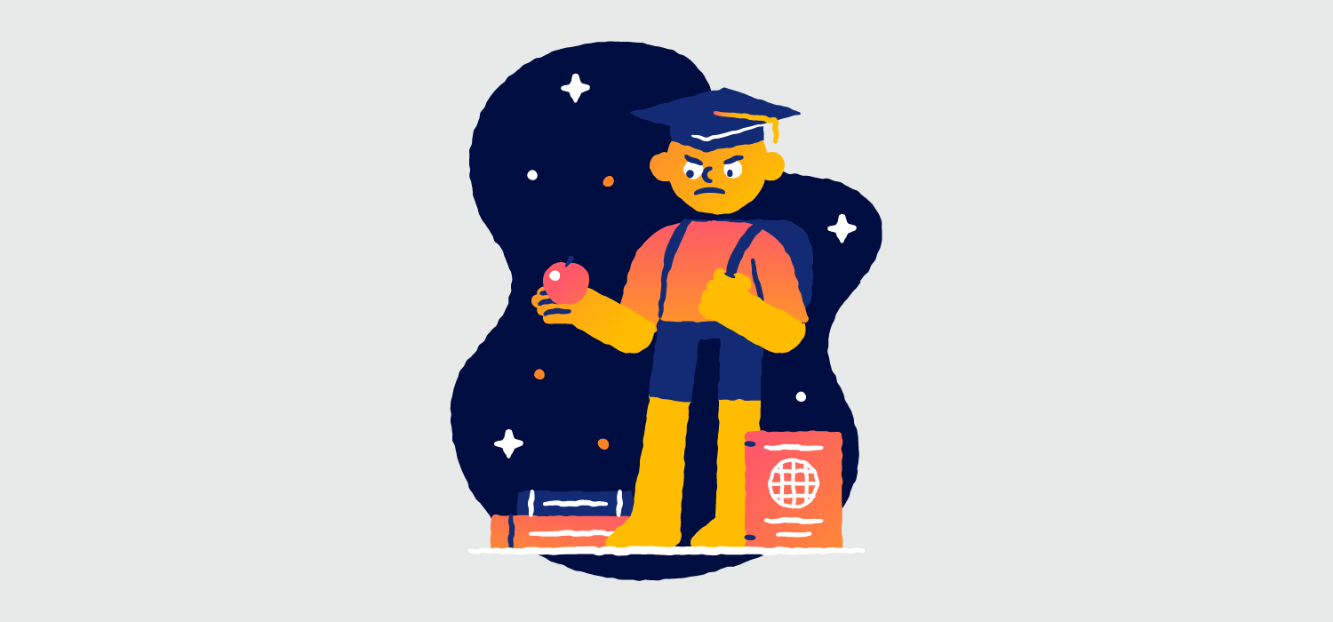 A man looks angrily at an apple in his hand. He's surrounded by books and school supplies. Illustration.