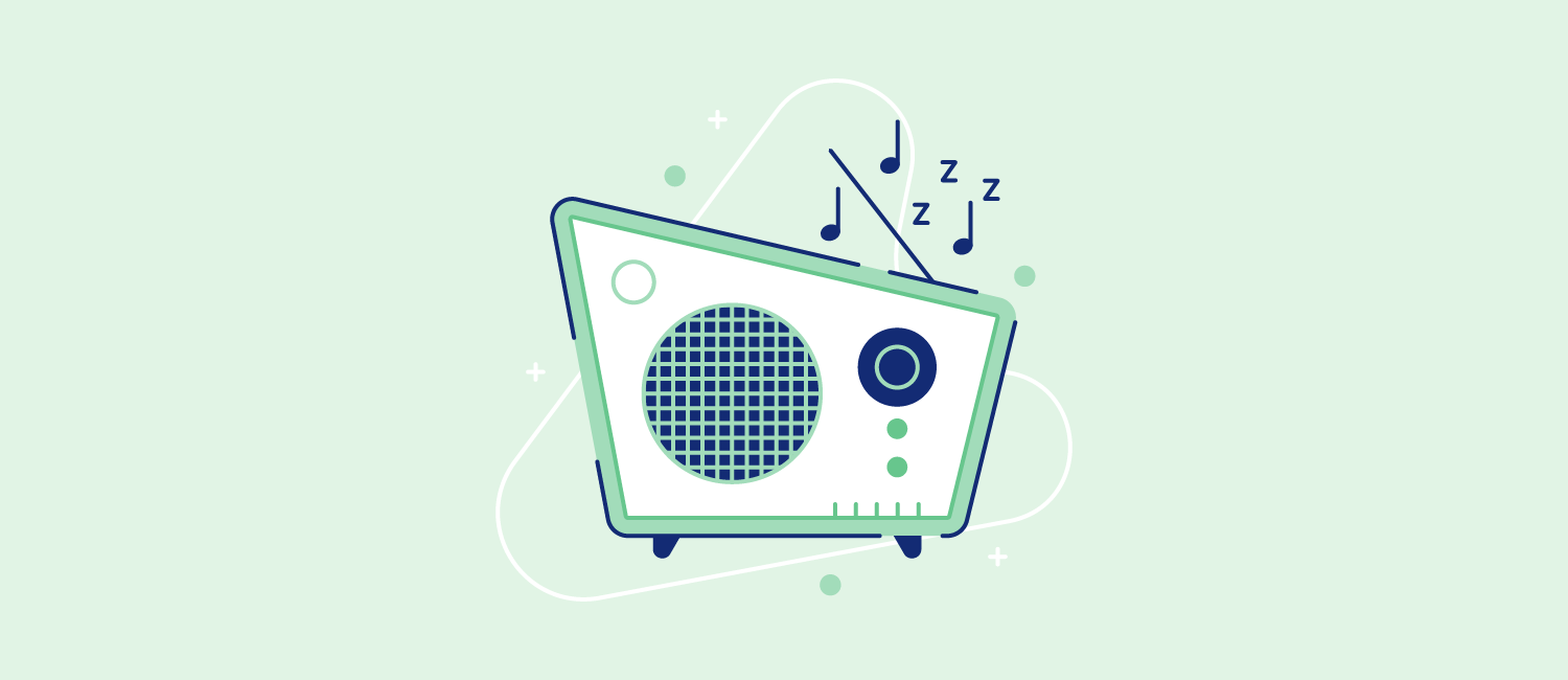 A radio with musical notes dancing around it. Illustration.