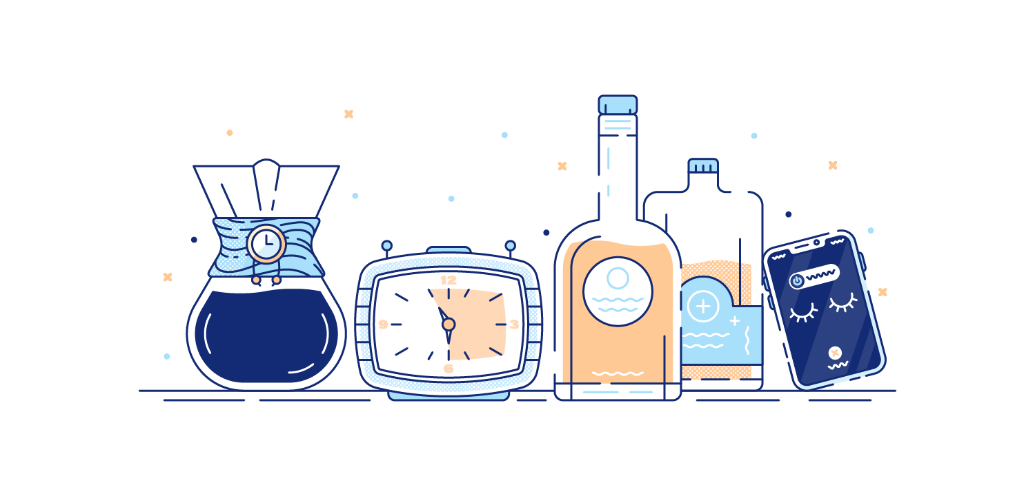 Coffee, alcohol, and alarm clocks on table. Illustration.