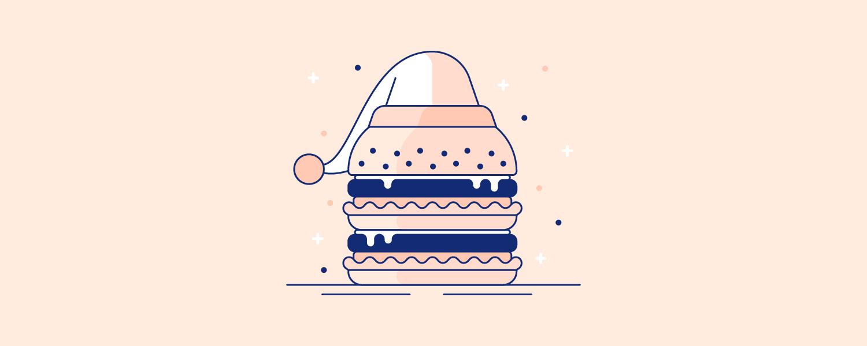 A greasy hamburger wearing a sleeping hat. Illustration.