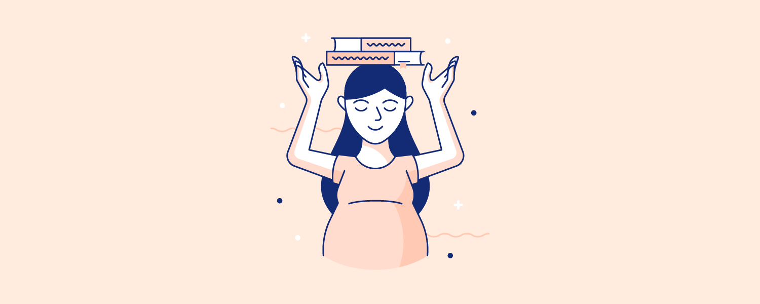 Woman balancing books on her head. Illustration.