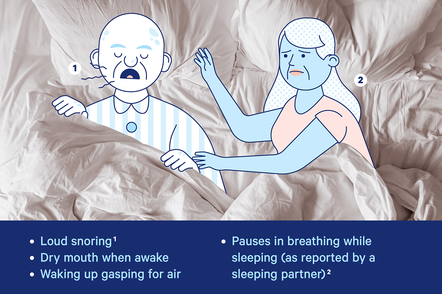 A man gasps in his sleep while his wife watches with a worried expression on her face. Illustration.