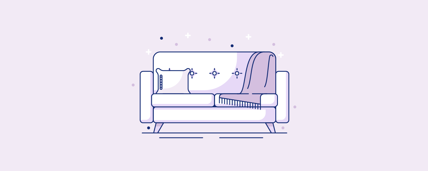 A couch with a pillow and blanket spread over it. Illustration