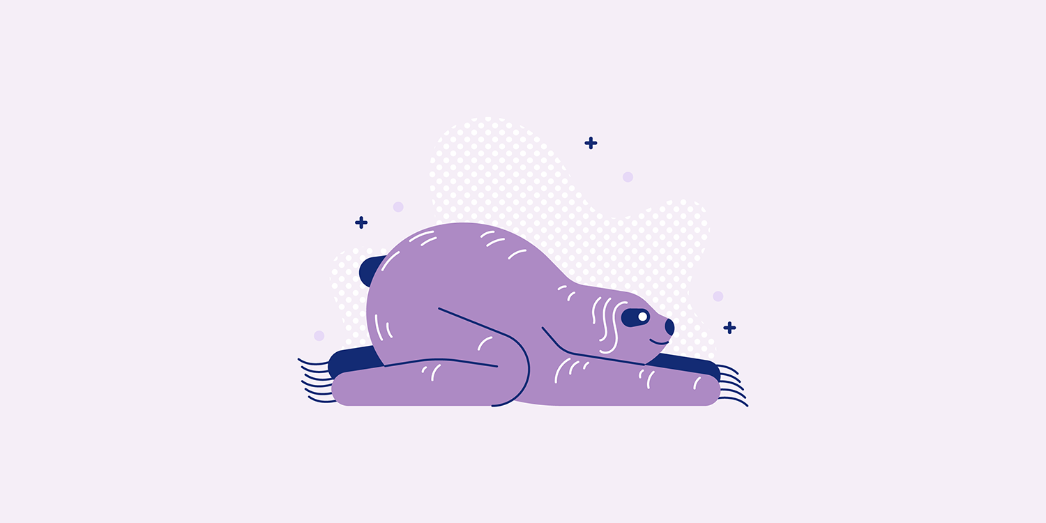 A cartoon sloth laying in the Balasana yoga pose.