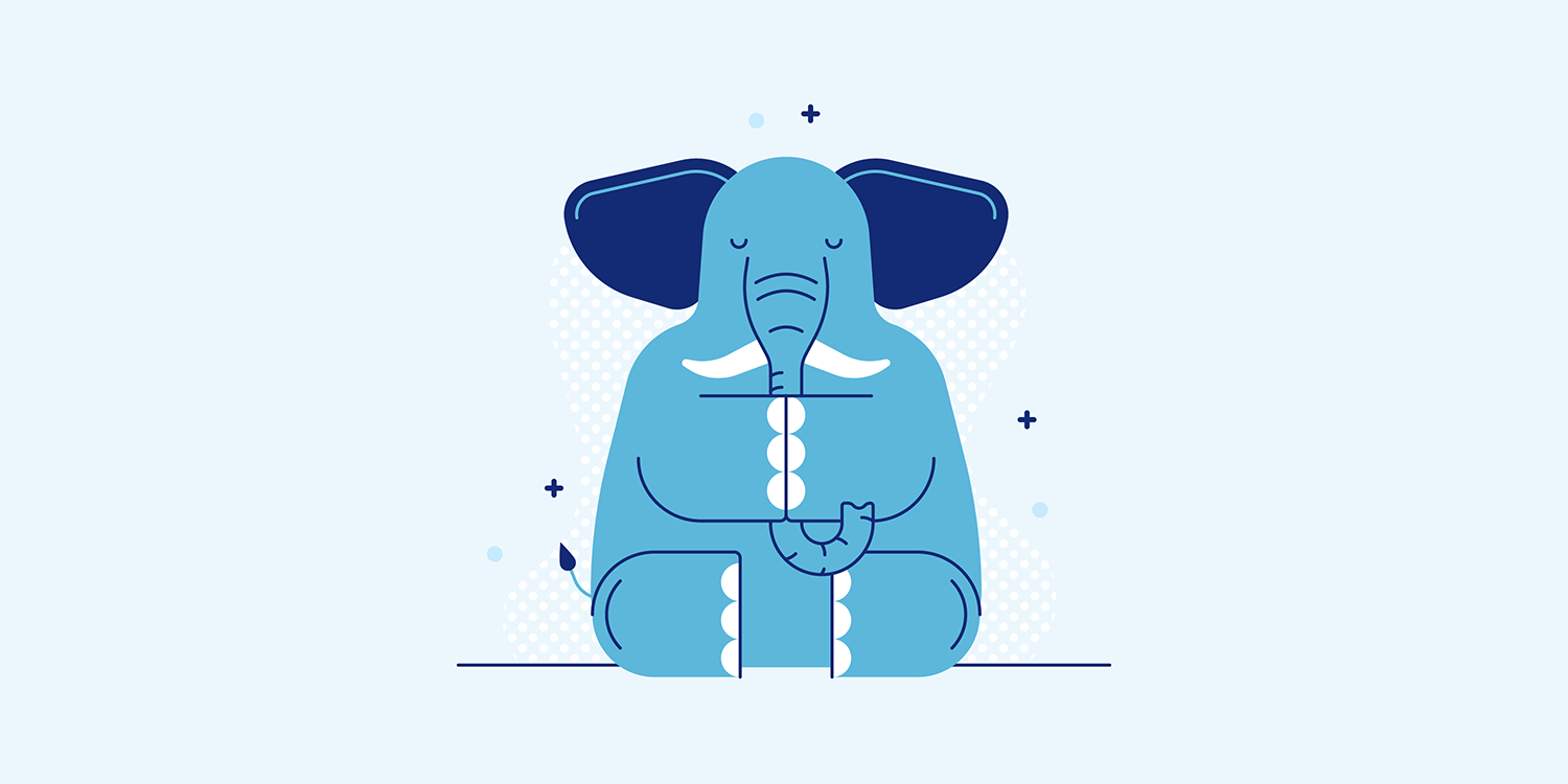 A cartoon elephant striking the Dirga Pranayama yoga pose.