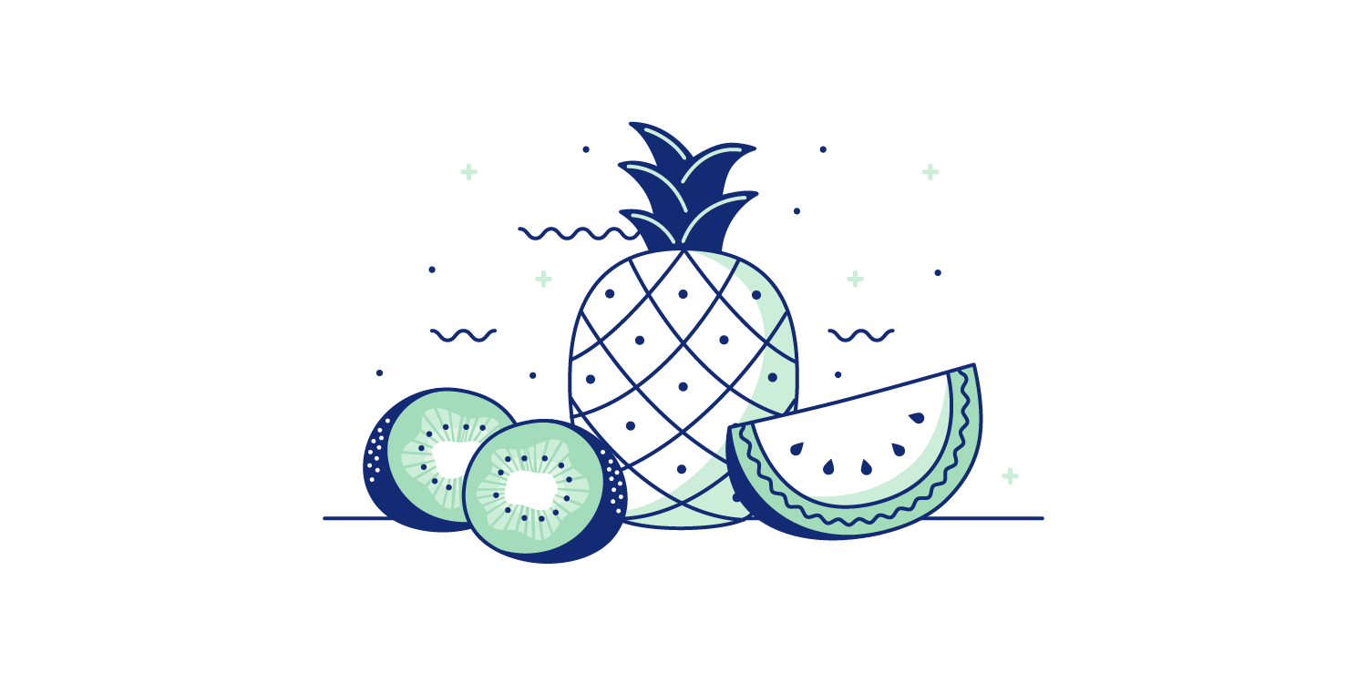 Sliced watermelon, sliced kiwi, and a pineapple spread out on a table. Illustration
