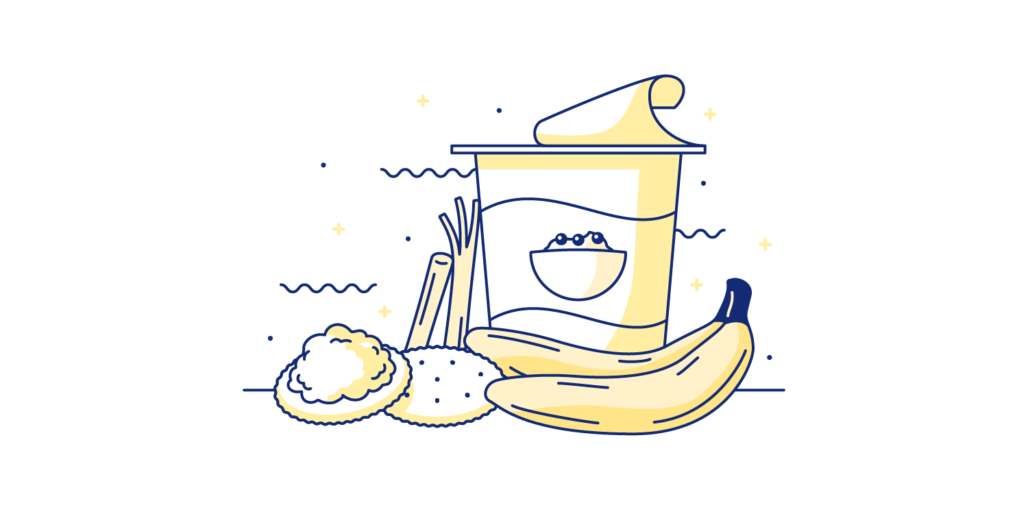 Cottage cheese, crackers, string cheese, yogurt, and bananas spread out on a table. Illustration