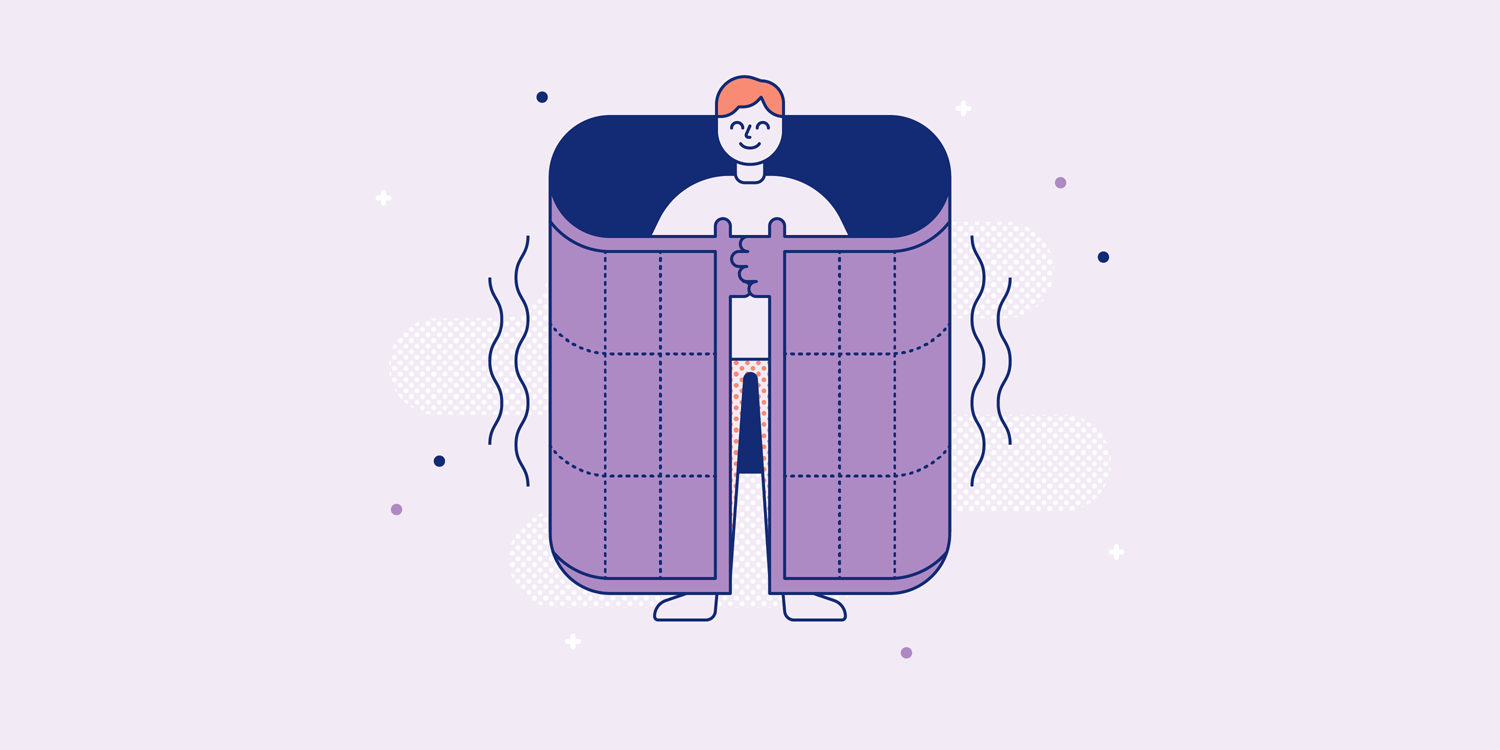 A smiling man is wrapped in a weighted blanket. Illustration.