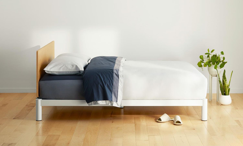 A sleek Casper platform bed frame.