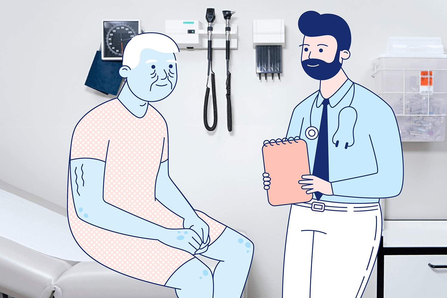 A man and his doctor chat happily. Illustration.