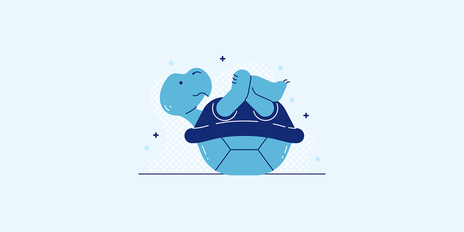 A cartoon turtle in the Apanasana yoga pose.