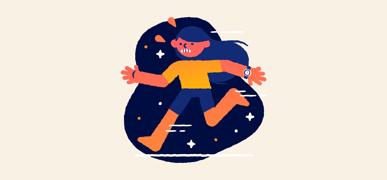 A woman sweats and runs. Illustration.