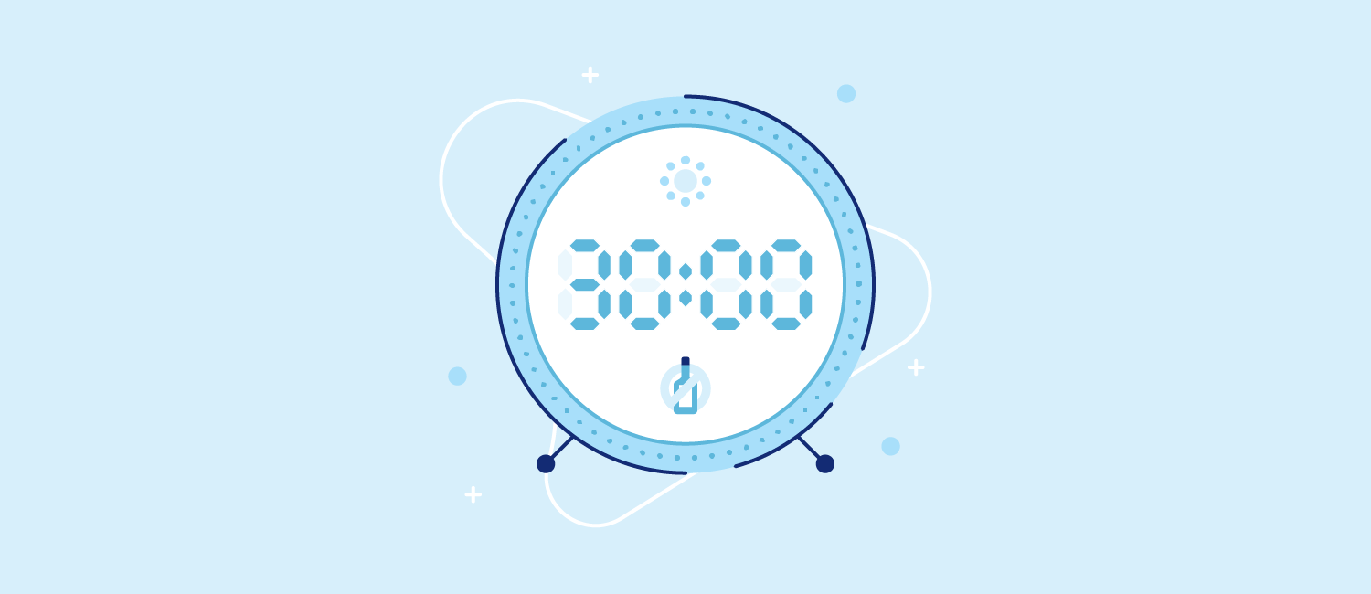 A blue alarm clock with an illustration of a liquor bottle with an X over it. Illustration