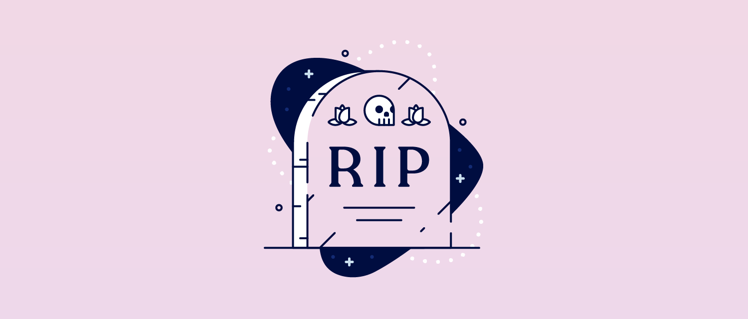 "Illustration of a tombstone that reads ""RIP""."