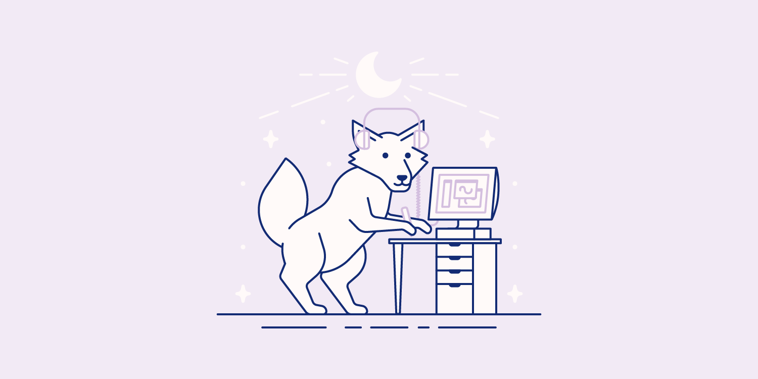 A wolf wearing headphones draws on a tablet while looking at a computer screen.