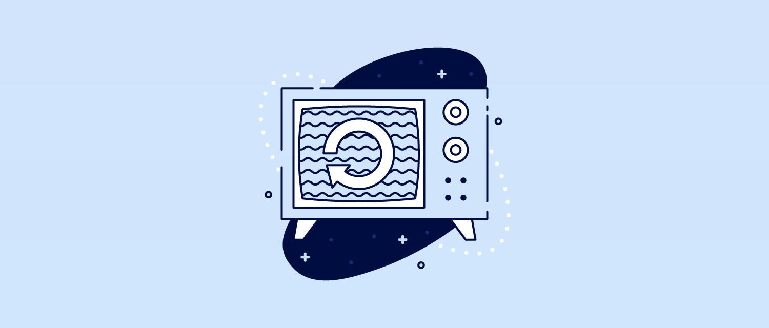 Illustration of a TV with a repeating symbol ont he screen.