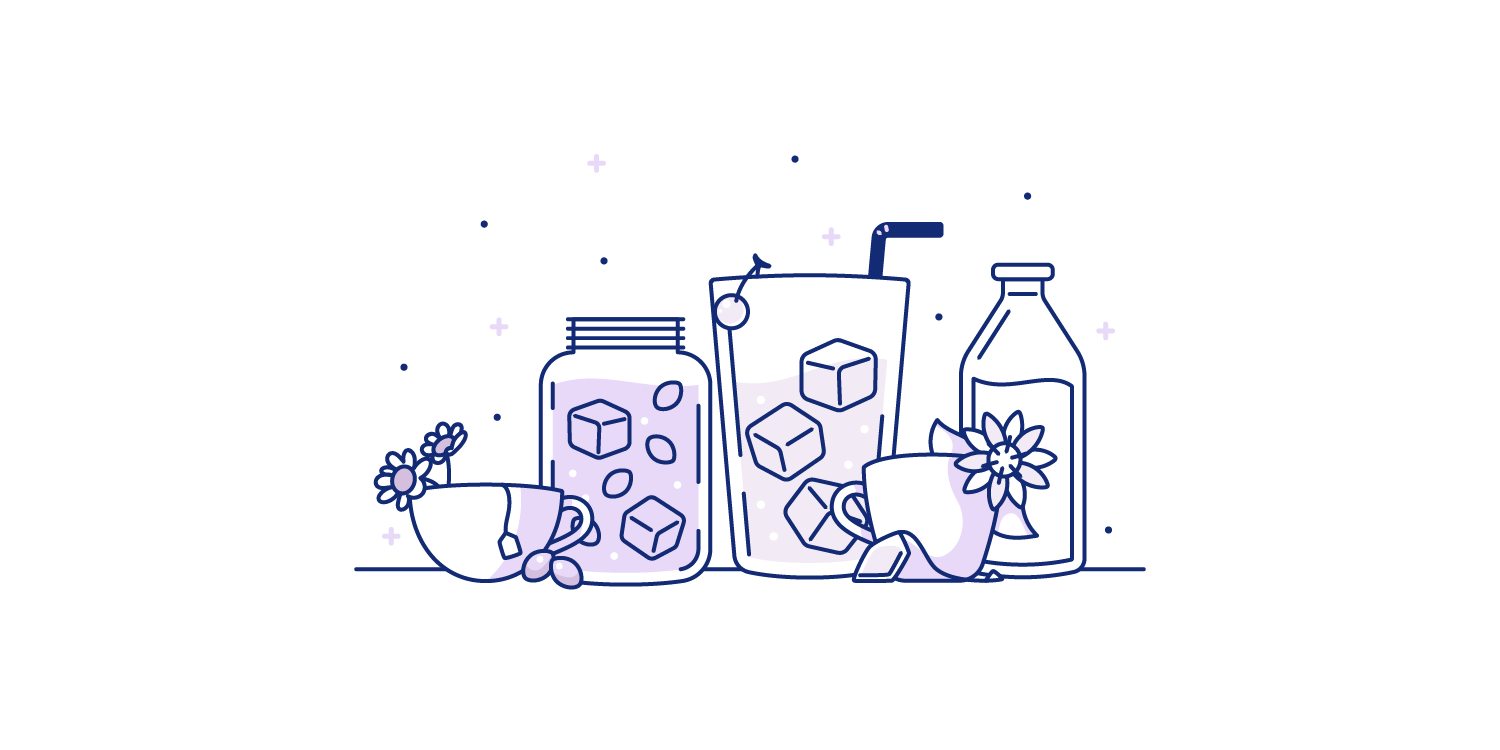 Various teas and drinks lined up on a table. Illustration