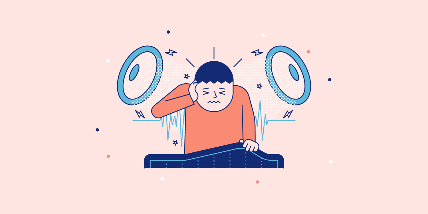 A man pulls up a weighted blanket to comfort himself from a loud environment. Illustration