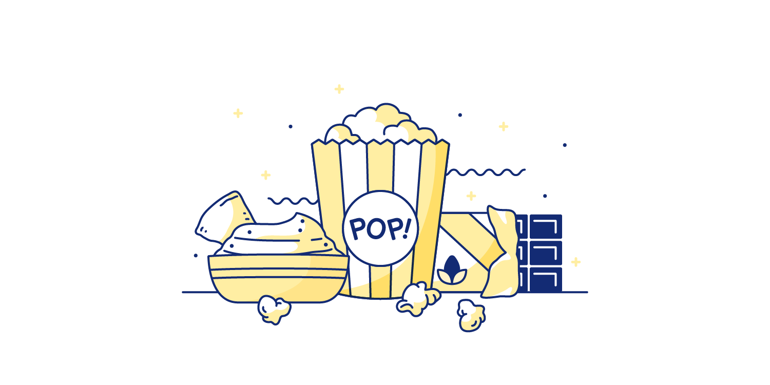 Popcorn, dark chocolate, and hummus spread out on a table. Illustration