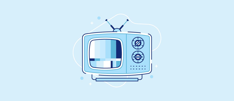 A broken TV set. Illustration