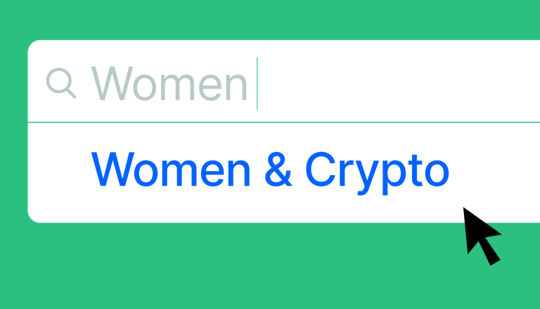 Search bar with Women typed in and Women & Crypto pops up as a suggestion