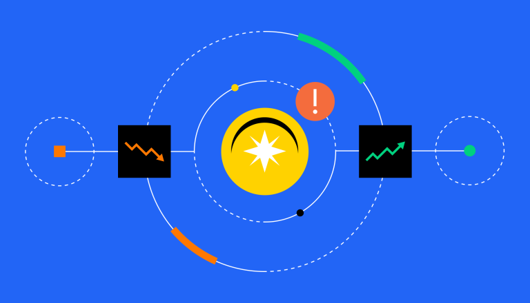 Coin orbited by alerts and charts.