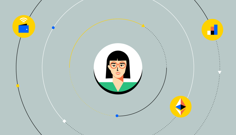 A person's face, surrounded by icons representing decentralized finance apps