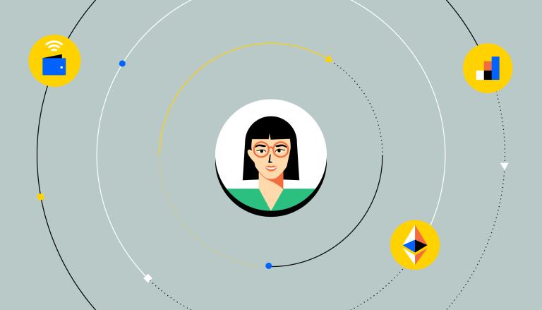 Il volto di una persona circondato da icone che rappresentano app di finanza decentralizzata