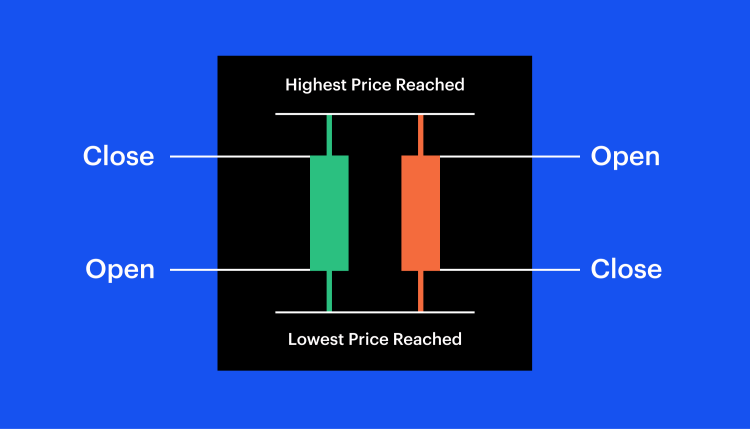 Showing red and green candlesticks and where the open and close prices are.