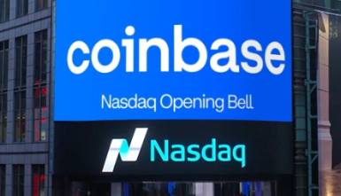 Digital marquee showing Coinbase on the Nasdaq Opening Bell