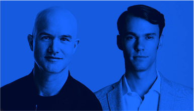 Photo of Coinbase founders Brian Armstrong and Fred Ehrsam
