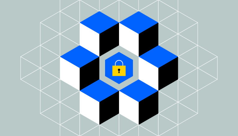 A lock on a grid, surrounded by cubes