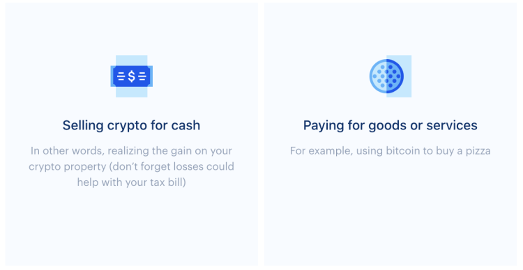 Selling crypto for cash: in other words, realizing the gain on your crypto property (don't forget lossed could help with your tax bill) and Paying for goods or services (for example using bitcoin to buy a pizza)