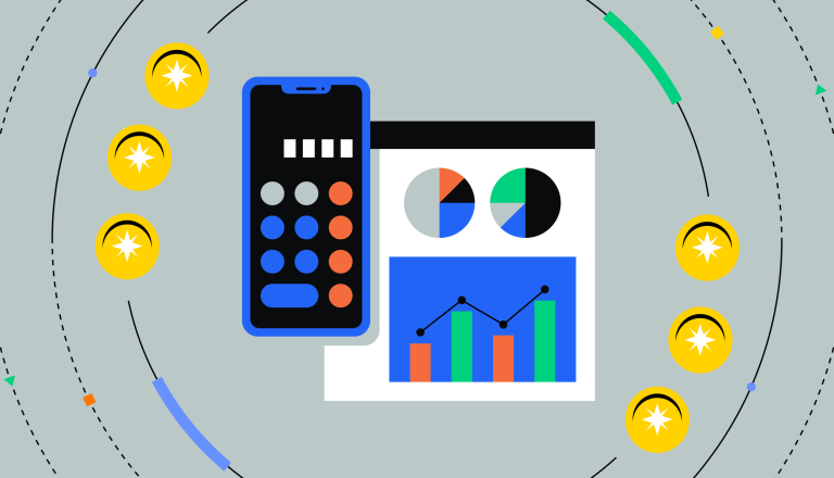 Coins orbiting a calculator, as well as charts and graphs