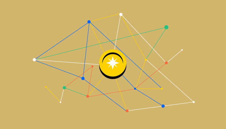 A web of colorful nodes connecting to a coin