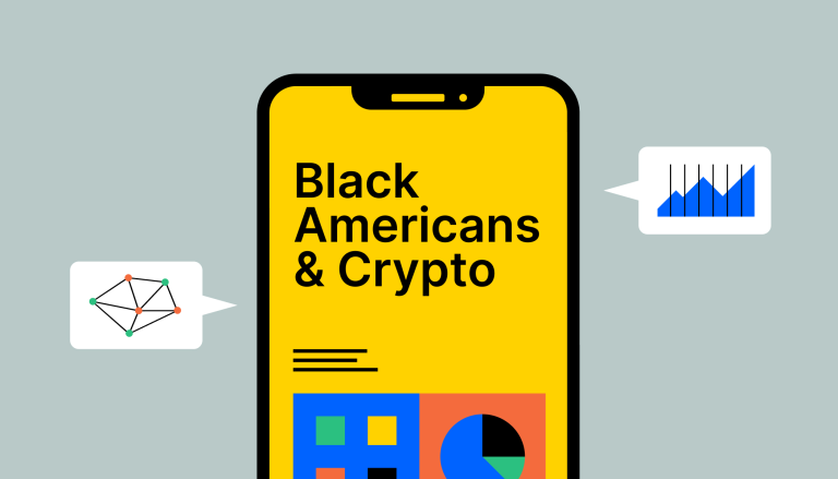 Mobile phone that says Black Americans & Crypto on the screen