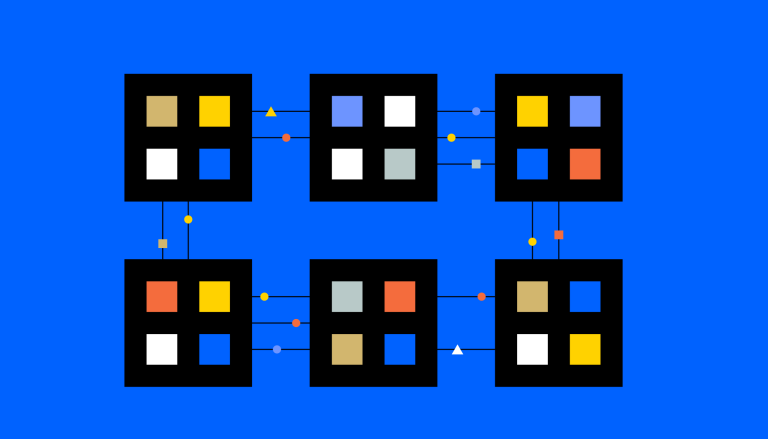 Sechs Datenblöcke in einer Blockchain – die Technologie, die das Fundament von Kryptowährungen bildet.