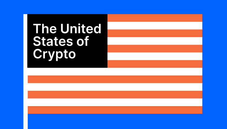 """American flag that says """"United States of Crypto"""" in place of the stars on the flag"""