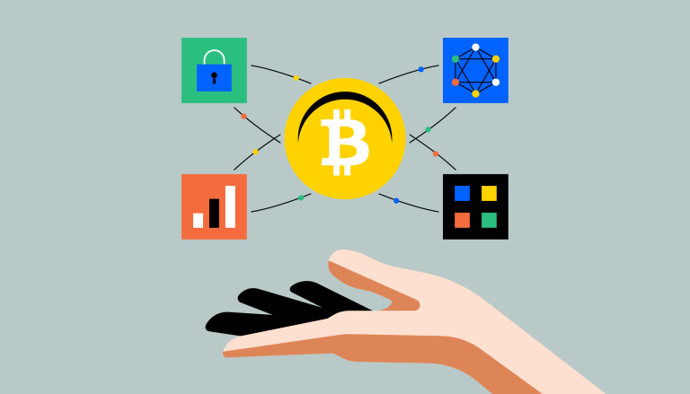 The Bitcoin logo, held up by a hand, to demonstrate secure peer-to-peer transactions.
