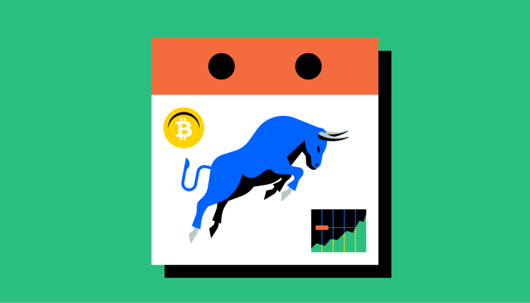 A bull on a calendar charging towards a graph that goes up