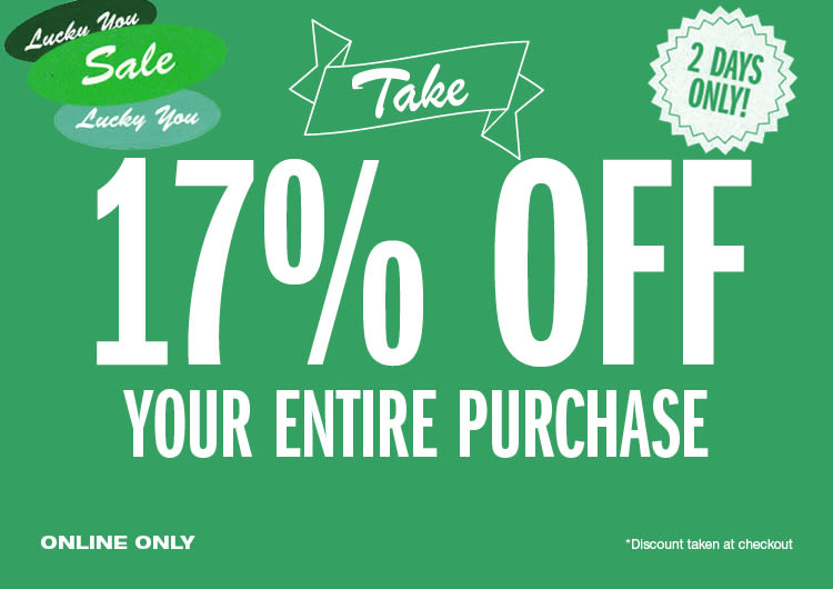 17% Off Your Entire Purchase 9f5d1bd0cc596