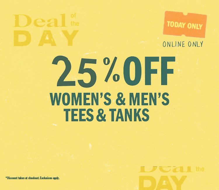 e0b649f742a 25% Off Women s   Men s Tees and Tanks. Shop ...